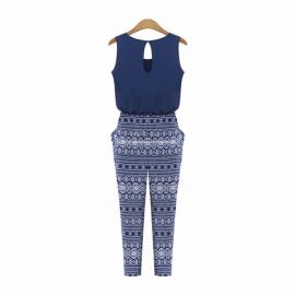 Leuke Jumpsuit met Print Blauw maat S