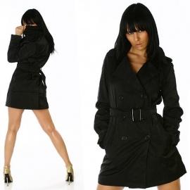 +-NeW+-Mooie Stoere en trendy Long Coat!  Zwart maat M
