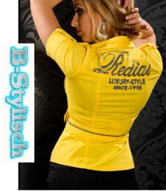 +-NeW+-Mooie Blouse van Redial met Glitterprint Geel L