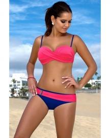 Leuke Bikini met Gerimpelde Buste Pink/Blauw maat 36