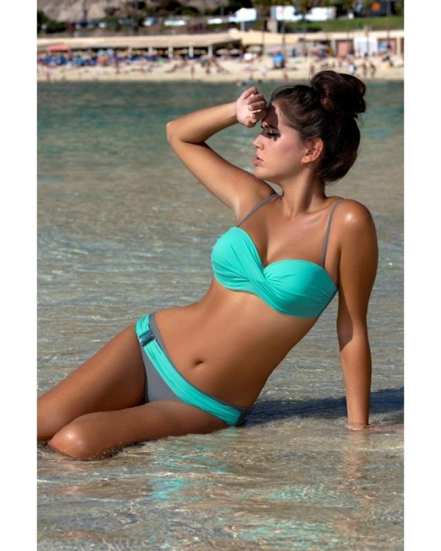 Leuke Bikini met Gerimpelde Buste Turquoise/Grijs maat 34