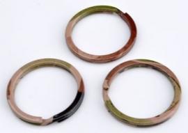 Metalen sleutelhanger ring bruin / groen