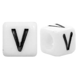 Acryl letterkraal wit V (vierkant)