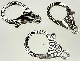 Metalen sleutelhanger/sluiting zwart/wit