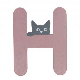 Houten kattenletter roze H