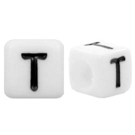 Acryl letterkraal wit T (vierkant)