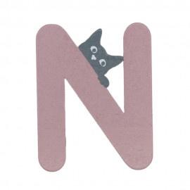 Houten kattenletter roze N