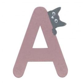 Houten kattenletter roze A