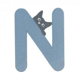 Houten kattenletter blauw N