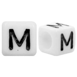 Acryl letterkraal wit M (vierkant)