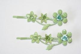 Haarschuifjes bloemen groen (7)