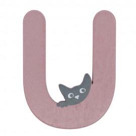Houten kattenletter roze U