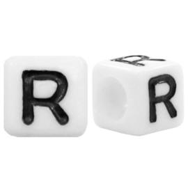 Acryl letterkraal wit R (vierkant)