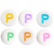 Acryl letterkraal multicolor-wit P (rond)
