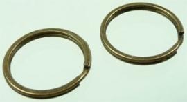 Metalen sleutelhanger ring oudbronskleur