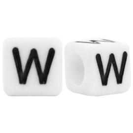 Acryl letterkraal wit W (vierkant)