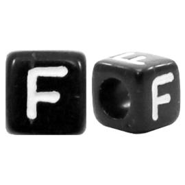 Acryl letterkraal zwart F  (vierkant)