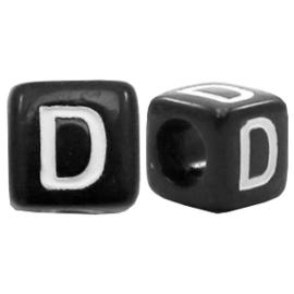 Acryl letterkraal zwart D  (vierkant)
