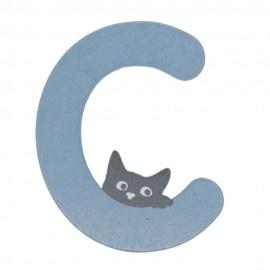 Houten kattenletter blauw C