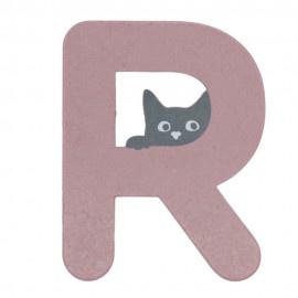 Houten kattenletter roze R