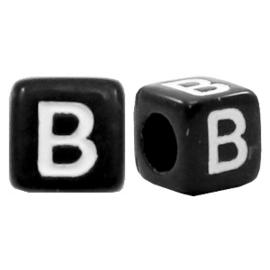 Acryl letterkraal zwart B  (vierkant)