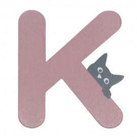 Houten kattenletter roze K