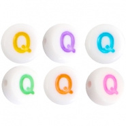 Acryl letterkraal multicolor-wit Q (rond)
