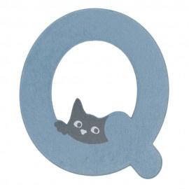 Houten kattenletter blauw Q