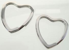 Metalen sleutelhanger ring hart