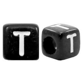 Acryl letterkraal zwart T  (vierkant)