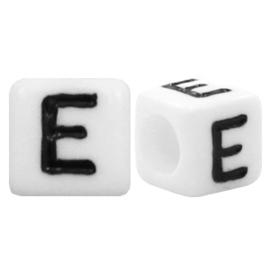 Acryl letterkraal wit E (vierkant)
