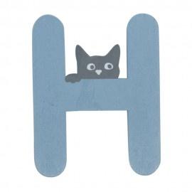 Houten kattenletter blauw H