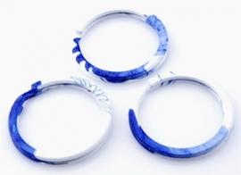 Metalen sleutelhanger ring blauw/wit