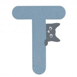 Houten kattenletter blauw T