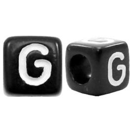 Acryl letterkraal zwart G  (vierkant)