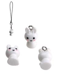 Kunststof hanger/bedel konijn wit