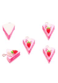 Kunststof hanger/bedel taartpuntje roze