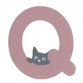 Houten kattenletter roze Q