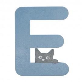 Houten kattenletter blauw E