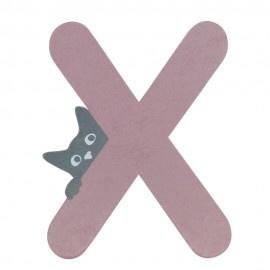 Houten kattenletter roze X