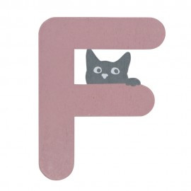 Houten kattenletter roze F