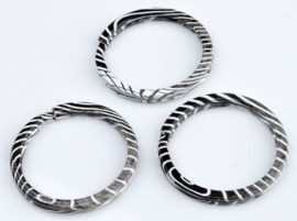 Metalen sleutelhanger ring zwart/wit