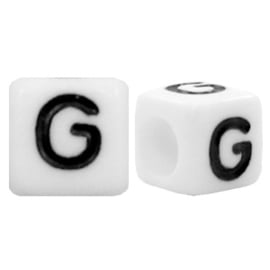 Acryl letterkraal wit G (vierkant)