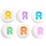 Acryl letterkraal multicolor-wit R (rond)