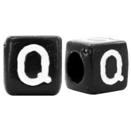 Acryl letterkraal zwart Q  (vierkant)