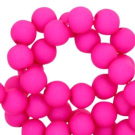 8 mm kraal van acryl fuchsia pink