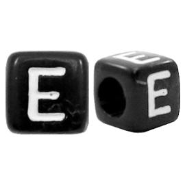 Acryl letterkraal zwart E  (vierkant)
