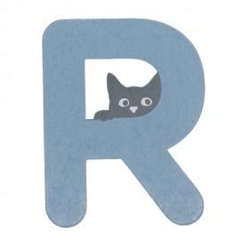 Houten kattenletter blauw R