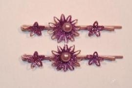 Haarschuifjes zonnebloem paars (16)