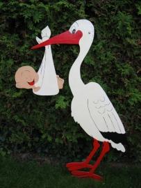 Geboortebord 'Ooievaar met baby in luier'